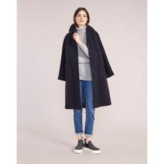Navy Mabel Wool Cashmere Coat
