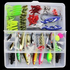 Fishing Tackle Lure Set - 100 Pieces - Lures - Hooks - Pliers - Connectors - Beads - Weights