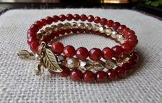 3 Coil Brass Memory Wire Wrap Bracelet With by McHughCreations, $26.95