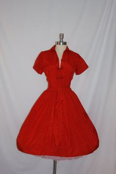1950's Vintage Dress - Fab Red Taffeta with Black Polka Dots Full Skirt Party Frock