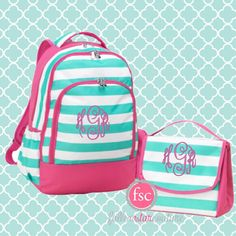 GIRLS personalized backpack , Back To School , SKYLER kids backpack , lunch box,  monogrammed back back , Hot pink and Mint stripe