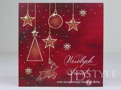 Kartki bożonarodzeniowe biznesowe w kolorze czerwony z subtelnymi złotymi dekoracjami. Advent Calendar, Holiday Decor, Home Decor, Decoration Home, Room Decor, Interior Decorating