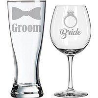 Bride Groom wedding glasses, engraved gift for wedding shower, bridal shower or…