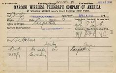 emarkably, this Marconi telegram sent by Titanic survivor Philip Mock to his brother in law Paul Schabert, notifying him that both he and Mrs. Schabert had survived, has been preserved. Thanks to Randy Ritter of Derby for the image.