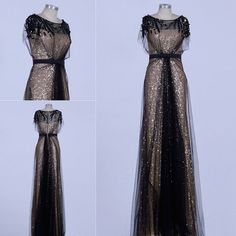 Gold and Black Sparkly Beaded Tulle Formal Evening Ball Dress with Short Sleeves, sizes 6 -14