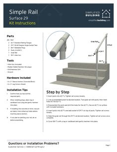 A simple ground mounted handrail kit that has a smooth surface and open ends. This railing uses variable-angle slip on fittings for fast, simple installation. Perfect railing for insurance or code compliance. Step Railing Outdoor, Railings For Steps, Porch Step Railing, Diy Stair Railing, Pipe Railing, Outdoor Stair Railing, Porch Stairs, Deck Steps, Outdoor Steps