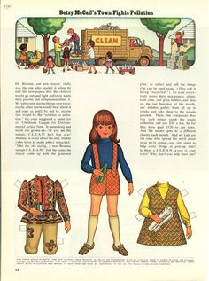 Vintage July 1971 Magazine Paper Doll Betsy McCall's Town Fights Pollution