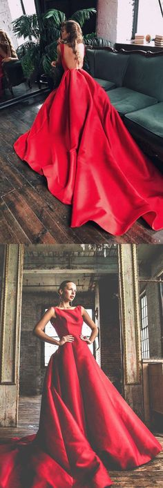 gorgeous ball gown, red long prom dress with open back, 2018 long prom dress with train