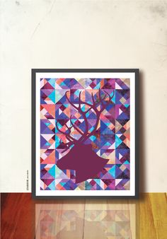GEOMETRIC ART PRINT, 8 x 10in poster. Reindeer head silhouette on tangram textured pattern, purple blue colors. Wall Decor, Tangramartworks