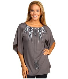 Nicole Miller Printed Jersey Charcoal - 6pm.com