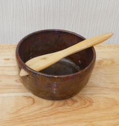 Dip bowl pate dish hand thrown stoneware with a juniper wood spreader knife ceramic pottery