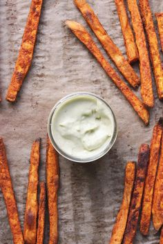 Baked Sweet Potato Fries with Garlic Avocado Aioli