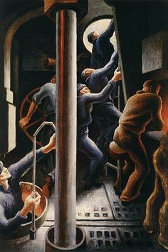 ART & ARTISTS: Thomas Hart Benton - part 4 WWII Thomas Hart Benton Paintings, Submarine Museum, Painters, Printmaking, Wwii, Illustrators, Artists, Graphics, World War Ii