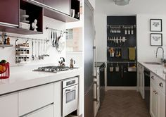 Libere as bancadas! Em cozinhas pequenas é comum ocuparmos a bancada com milhares de utensílios ou eletrodomésticos. Para resolver esse probleminha, uma solução prática são aqueles organizadores fixados diretamente na parede.