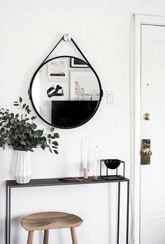 6 Essentials for a Functional Entryway, decor, mirror - Hallway Decorating, Entryway Decor, Interior Decorating, Entryway Ideas, Apartment Entryway, Modern Entryway, Interior Design Living Room, Living Room Decor, Decor Scandinavian