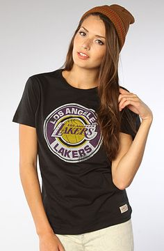b170d4014 Mitchell   Ness The LA Lakers Tailgate Vintage Tee in Black Model is  wearing a size Small Short-sleeve tee with crew neckline  signature Los  Angeles Lakers ...