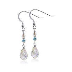 925 Silver Swarovski Elements Clear Crystal Handmade Dangle Earrings
