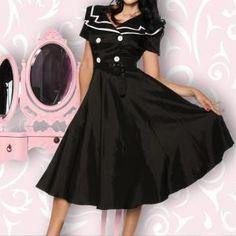Die Fifties leben auf! Sehr hochwertiges Satin-Kleid im Rockabilly-Style, mit zeitgemässem Matrosen-Kragen. Es hat...
