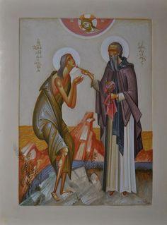 Greece -by George Kordis ~~~.St Mary of Egypt St Mary Of Egypt, Russian Icons, Byzantine Icons, Catholic Saints, Orthodox Icons, Christian Art, Religious Art, Christianity, Artwork