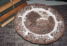 Vintage J&G Meakin Romantic England brown transferware orphan saucer (NO cup) featuring Haddon Hall, cows. Magnifying Glass, China Patterns, Scalloped Edge, Dinner Plates, Dinnerware, 1960s, Vintage Items, Cow, Decorative Plates