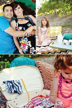 cute tea-party themed family photo shoot