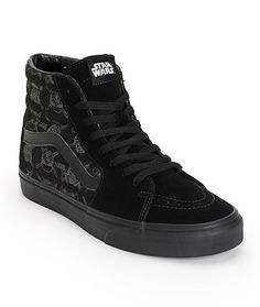 Give in to the Dark Side of style with a Darth Vader and Storm Trooper helmet print on the padded canvas high-top collar with a Star Wars tongue logo and vulcanized outsole for flexibility.