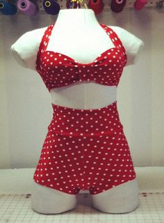 DelilahTwo Piece High Waist Swimsuit by TaniThompson on Etsy, $100.00