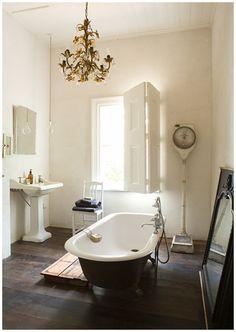 Chandelier, Window/Shutter, Tub. Beautiful.