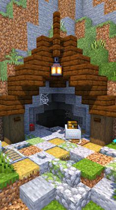 [Minecraft Timelapse Hardcore - Building a Mineshaft Entrance Minecraft Cottage, Easy Minecraft Houses, Minecraft House Tutorials, Minecraft House Designs, Amazing Minecraft, Minecraft Creations, Minecraft Crafts, Minecraft Building Blueprints, Minecraft Plans