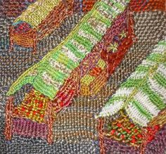Market day : Textile art using Hilary's darned/ weave technique.Shows apples and other fruit on the stalls. For sale