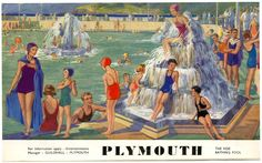 British Seaside, British Isles, Plymouth Hoe, Visit Devon, Railway Posters, Art Deco Design, Vintage Travel Posters, Ocean City, Beach Art