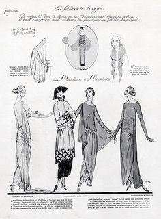 Jean Patou & Madeleine & Madeleine (Verso) 1922 Evening Gown, Fashion Illustration Pigeat & Dartey | Hprints.com