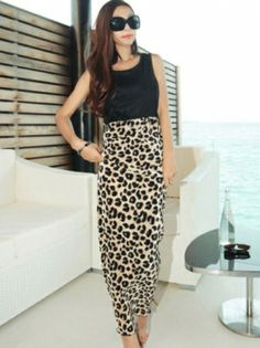 Comfortable Sleeveless Leopard Printed Maxi Dress