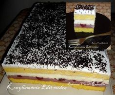 Én is felvettem az elkészítendők közé! Hungarian Cake, Hungarian Recipes, My Recipes, Cookie Recipes, No Bake Desserts, Dessert Recipes, Torte Cake, Tiramisu Cake, Sweet And Salty