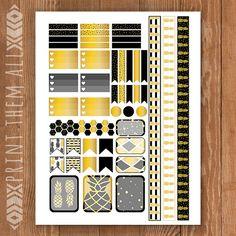 Black & Gold Pineapple Printable Planner by PrintThemAllStudio