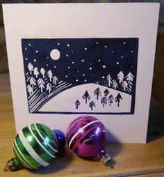 Lino Print Christmas Card - Snow scene
