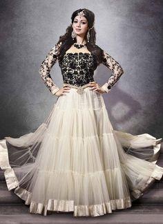 Black & White Anarkali Churidar Suit