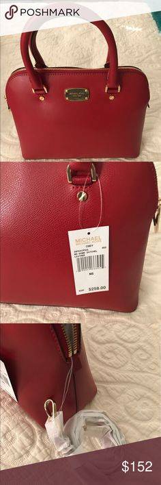 Michael Kors Dome Satchel Bright red leather Satchel.  However missing the MK fob.  Price reflects this.  Reasonable offers no trades. Smoke free pet free home. Michael Kors Bags Satchels