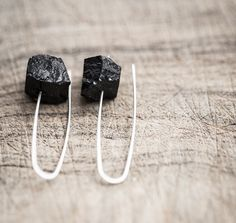 Modern Hook Earrings Raw Black Tourmaline Argentuim Sterling