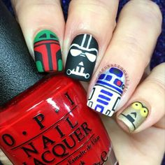Darth Vader from Star ⚔Wars  Here is last part of my version of Star Wars Nails.  I panted on my nails  index finger: Boba Fett Middle finger: Darth Vader Ring finger: R2-D2 robot Pinky Finger: C-3PO  I used  @opi_products  Love is in my cards Black Onyx  Glitzerland Matte top coat  @sally_hansen Celeb city  Details hand painted with acrylic paint  and detail brush from ebay  SongStars Wars Main Theme by John Williams