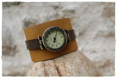 Watch on ethnic cuff leather bracelet - Men watches