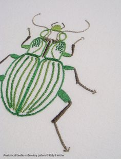 Anatomical Beetle A lifelike depiction of a beetle in brilliant greens and greys.  This design would work well framed as part of a collection of botanical embroideries and prints.  The design measures 4½ x 5½ inches (11.5 x 14cm).  Need help with a stitch? Try my Stitch Directory on www.kellyfletcher.blogspot.com or my Stitches board on www.pinterest.com/kellylfletcher/stitches.  This is a five-page digital pattern in PDF format.  The pattern includes: Needle and thread requirements: A list…