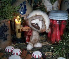 "Primitive Christmas Fuzzy Polar Teddy Bear 5"" Doll Vtg Patti's Ratties Cub OOAK"