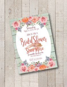 Bridal Shower Invitation Rustic Floral Chic by ItsyBeeCreations
