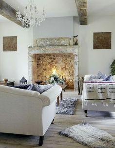 Great Room : Rustic stone fireplace, white oak floors, exposed beams