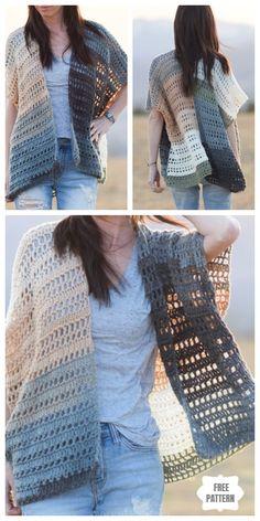 Crochet Cardigan, Crochet Scarves, Crochet Clothes, Crochet Sweaters, Lace Kimono, Kimono Cardigan, Beginner Knitting Patterns, Crochet Patterns, Free Crochet