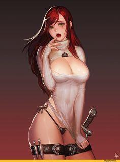 Katarina,League of Legends,Лига Легенд,фэндомы,LoL Ero,open-chest sweater,instant-ip,Katarina du Couteau