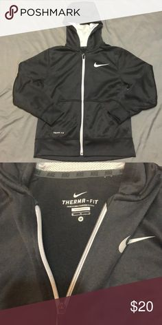 3e8acff47f6d black NIKE therma-fit zip-up jacket black athletic fabric with thermal  inside.