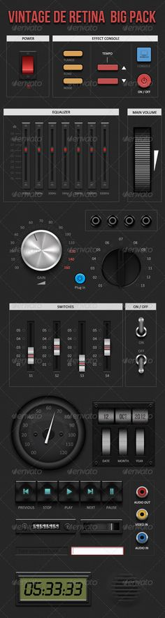 Retina Vintage Ui Kit #GraphicRiver Vintage De Retina : Vinatge Ui Kit (BIG PACK) Like to smell the oldies… Try this ui kit on your smart phone applications, combine the power of latest technologies with the classic styles of vintage elements. Features Realistic vintage design 72ppi, 72ppi @2X, 326ppi ppi retina ready 100% resizable vectors A huge number of elements Highly organized and layered psd Detailed design Make your next iOs applicationl a fascinating illustration with this ultimate…