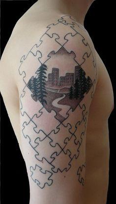 29 puzzle piece on arm